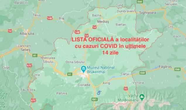 VEZI lista localităților din județul Sibiu care au cazuri COVID în ultimele 14 zile