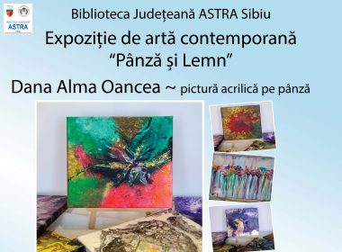 """Biblioteca Județeană ASTRA Sibiu invită sibienii la expoziția de artă """"Pânză și Lemn"""""""